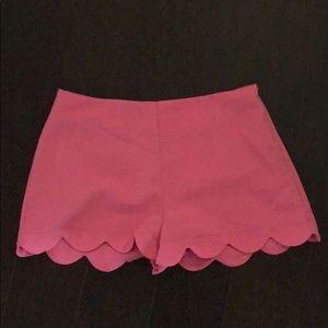 Pants - Scallop bottom pink short